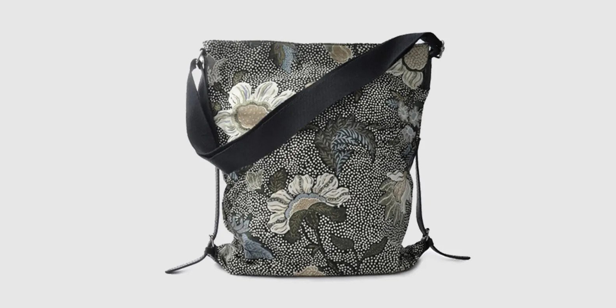 CEANNIS SHOULDER BAG BLACK FLOWER LINEN